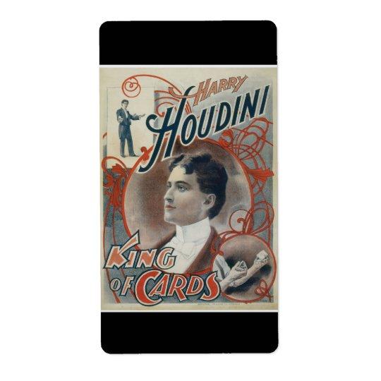 Houdini, King of Card Vintage Advertisement Label
