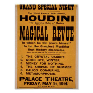 Houdini, 'Magical Revue' Retro Theater Poster