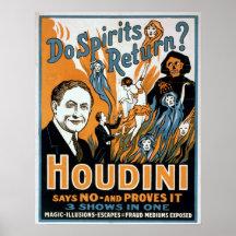 THEATRE VAUDEVILLE HOUDINI ESCAPOLOGY MAGIC USA Poster Vintage Canvas art Prints