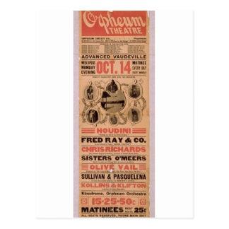 Houdini, 'Orpheuw' Retro Theater Postcard