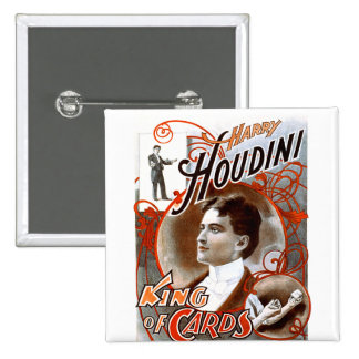 Houdini - rey de tarjetas pin cuadrada 5 cm