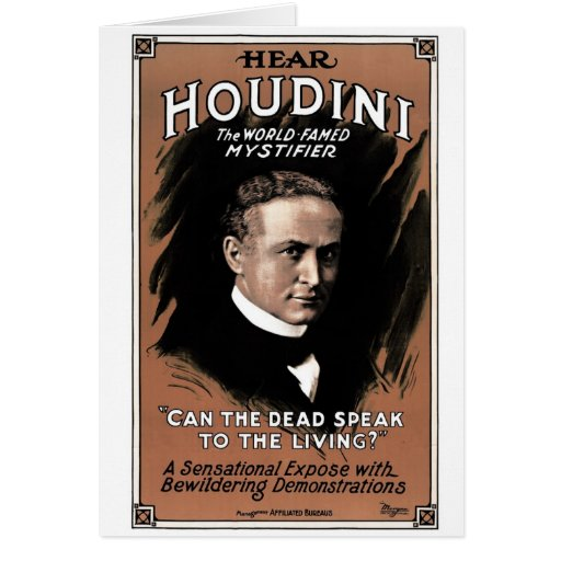 "Houdini - ""saben los muertos hablar"" la tarjeta"