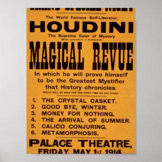 """Houdini, teatro retro de la """"revista mágica"""" posters"""