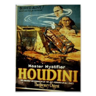 Houdini, 'the Literary Digest' Vintage Theater Poster
