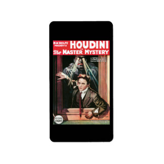 Houdini, The Mastery Mystery vintage poster 1919 Label