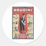 Houdini ~ Vintage Handcuff Escape Artist Classic Round Sticker