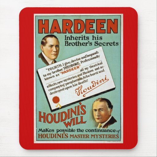 Houdini's Brother Hardeen Vintage Advertisement Mouse Pad