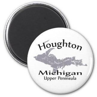 Houghton Michigan Map Design Magnet