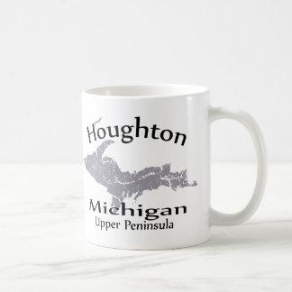 Houghton Michigan Map Design Mug Coffee Mugs