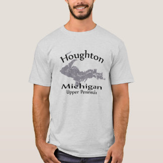 Houghton Michigan Map Design T-shirt