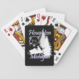 Houghton Michigan Snowmobile Bear Playing Cards