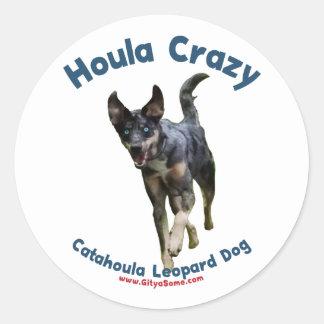 Houla Dog Crazy Classic Round Sticker