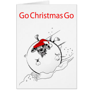Houla en tarjeta de Navidad de la bola de nieve