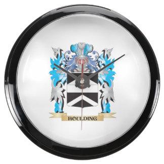 Houlding Coat of Arms - Family Crest Aqua Clocks