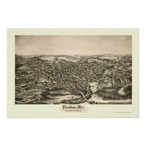 Houlton, ME Panoramic Map - 1894 Poster