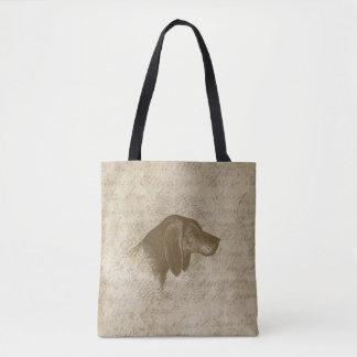 Hound Brown Puppy Dog Antique Script Tote Bag