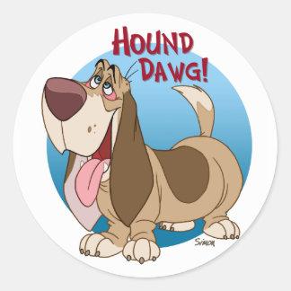 hound dawg classic round sticker