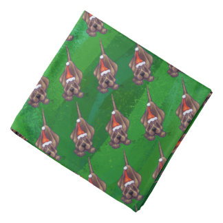 Hound Dog Christmas On Green Bandana