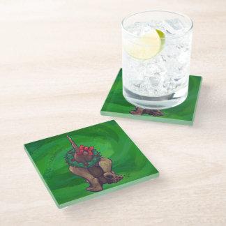 Hound Dog Christmas On Green Glass Coaster