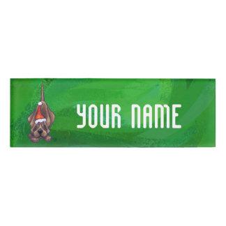 Hound Dog Christmas On Green Name Tag