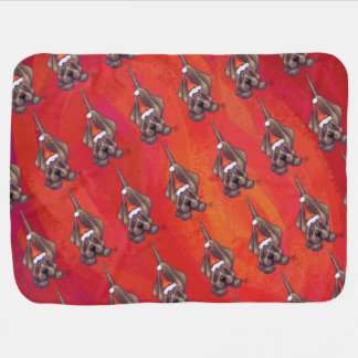 Hound Dog Christmas On Red Baby Blanket