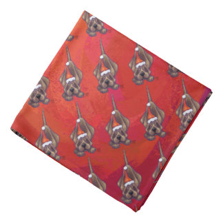 Hound Dog Christmas On Red Bandana