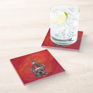 Hound Dog Christmas On Red Glass Coaster