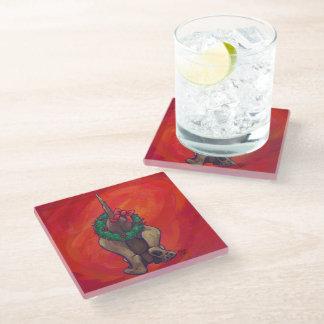 Hound Dog Christmas On Red Glass Coaster