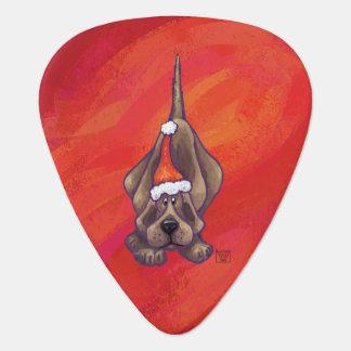 Hound Dog Christmas On Red Guitar Pick