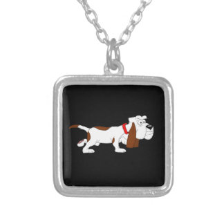 Hound dog design matching jewelry set square pendant necklace