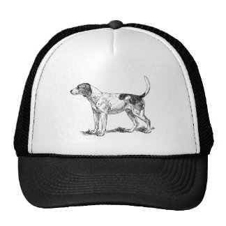 Hound Dog Hunting Breed  Black And White Drawing Trucker Hat