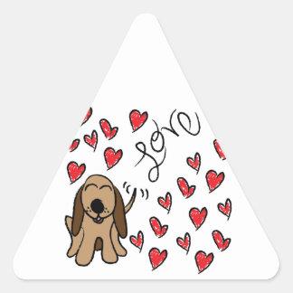 Hound Dog Love Triangle Sticker