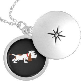 Hound dog round locket necklace