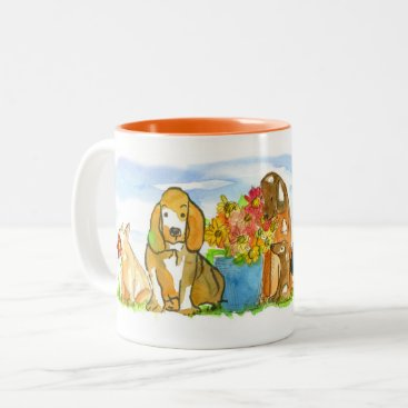 Hound Dog Scottie Dog Watercolor Pet Animals Two-Tone Coffee Mug