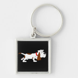 Hound dog Silver-Colored square keychain
