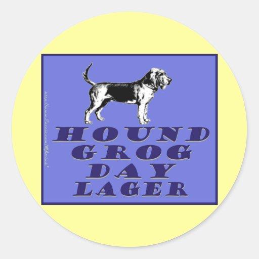 Hound Grog Day Blue Lager Round Stickers
