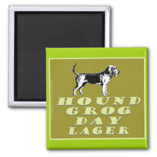 Hound Grog Day Gold Lager 2 Inch Square Magnet