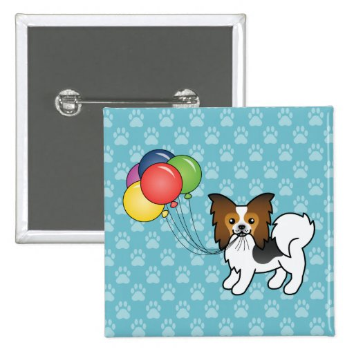 Hound Tricolor Papillon Birthday Balloons Dog Pinback Buttons