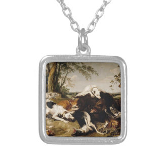 Hounds Bringing down a Boar by Frans Snyders Custom Necklace