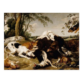 Hounds Bringing down a Boar by Frans Snyders Postcard
