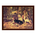 Hounds By Alexandre-Gabriel Decamps Post Card
