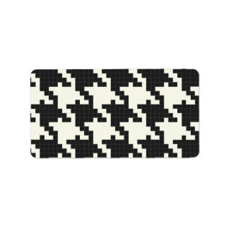 Hounds Tooth Pixel-Textured Custom Address Label