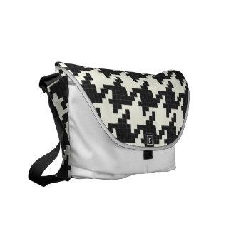 Hounds Tooth Pixel-Textured Messenger Bag