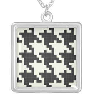 Hounds Tooth Pixel-Textured Necklace