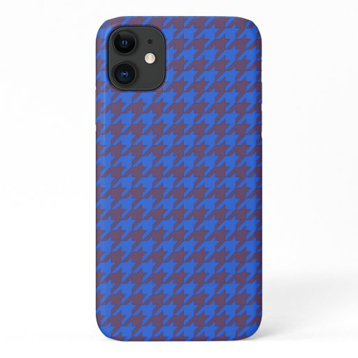 Hounds tooth textile pattern turquoise cool black iPhone 11 case