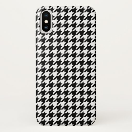 Hounds tooth textile pattern turquoise cool black iPhone x case