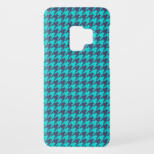 Hounds tooth textile pattern turquoise cool black Case-Mate samsung galaxy s9 case