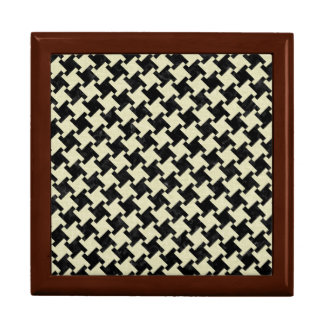 HOUNDSTOOTH2 BLACK MARBLE & BEIGE LINEN JEWELRY BOX