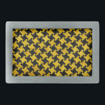 """HOUNDSTOOTH2 BLACK MARBLE &amp; YELLOW MARBLE BELT BUCKLE<br><div class=""""desc"""">A houndstooth checked pattern using black marble and yellow marble.</div>"""