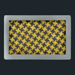 "HOUNDSTOOTH2 BLACK MARBLE &amp; YELLOW MARBLE BELT BUCKLE<br><div class=""desc"">A houndstooth checked pattern using black marble and yellow marble.</div>"